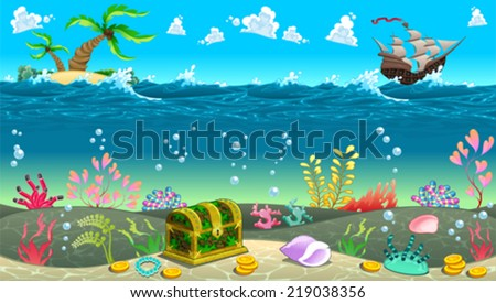 Funny scene under the sea. Vector cartoon illustration - stock vector