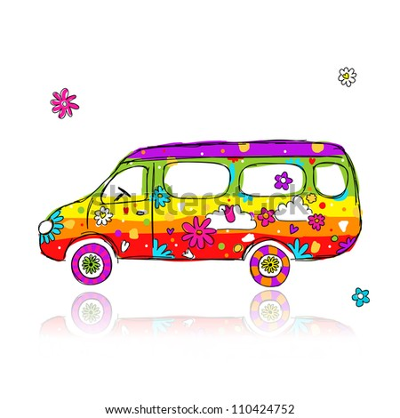 Funny school bus for your design - stock vector