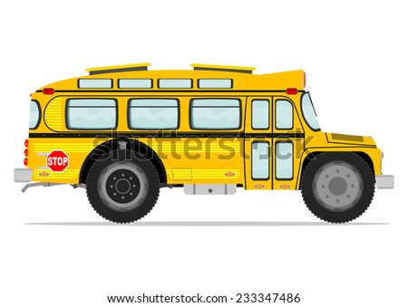 Funny school bus. Vector illustration without gradients on one layer.  - stock vector