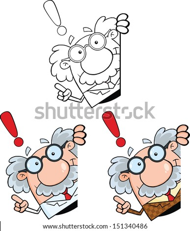 Funny Scientist Or Professor Cartoon Characters. Set Vector Collection 8 - stock vector