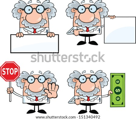 Funny Scientist Or Professor Cartoon Characters. Set Vector Collection 5 - stock vector