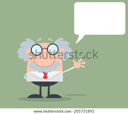 Funny Scientist Or Professor Waving With Speech Bubble Flat Design. Vector Illustration  - stock vector