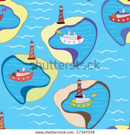 Funny sea seamless pattern with ships and lighthouse - stock vector