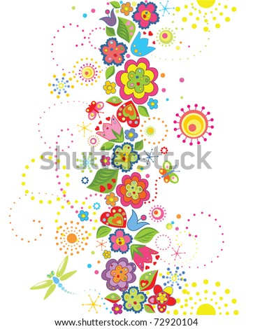 Funny seamless floral background - stock vector