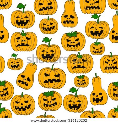 Funny seamless pattern with Halloween pumpkins. Cartoon style. Vector pattern on isolated background. Could be used as print for paper, textile and web.
