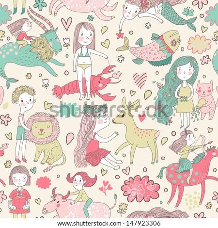 Funny seamless pattern with zodiac sign. Cute children with animals. Capricorn, pisces, aquarius, virgo, cancer, taurus, leo, libra, sagittarius. - stock vector