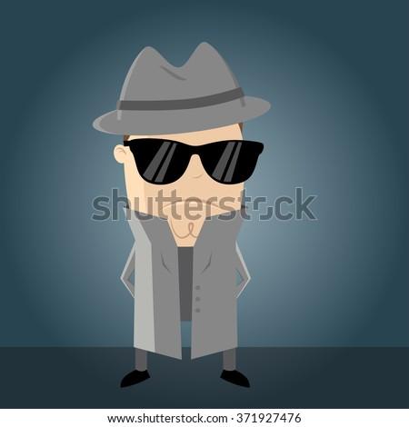 funny secret agent - stock vector