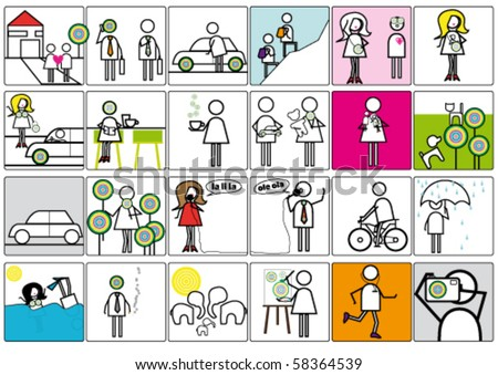 Funny series of pictogram. - stock vector