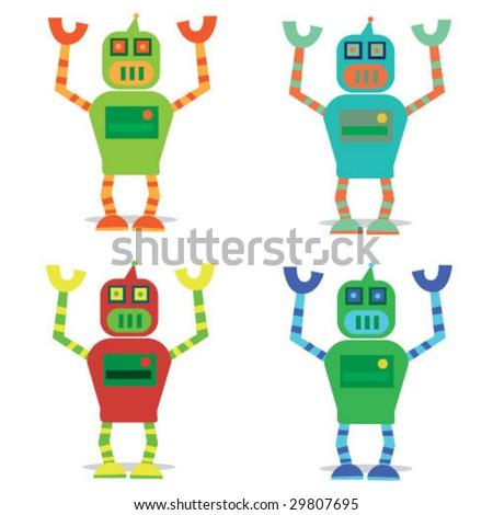funny set of cute robots. vector illustration - stock vector