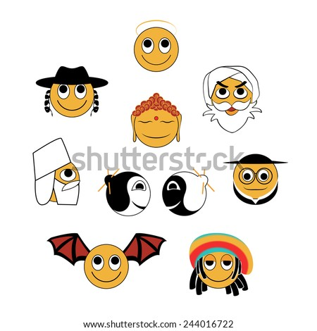 Funny set of smileys. Religious thematic. - stock vector