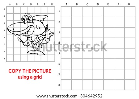 funny shark educational grid game. Vector illustration of grid copy educational  puzzle game with happy cartoon shark for children - stock vector