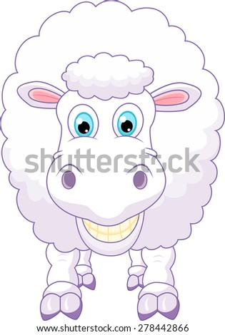 funny sheep cartoon - stock vector