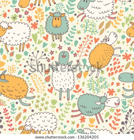 Funny Sheep In Flowers Seamless Pattern Can Be Used For Wallpapers Fills