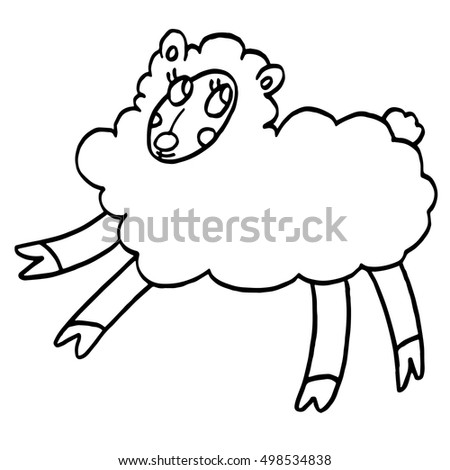 Funny Sheep With Friendly Face Isolated On White Background Hand Drawn Illustration Of Farm Animal