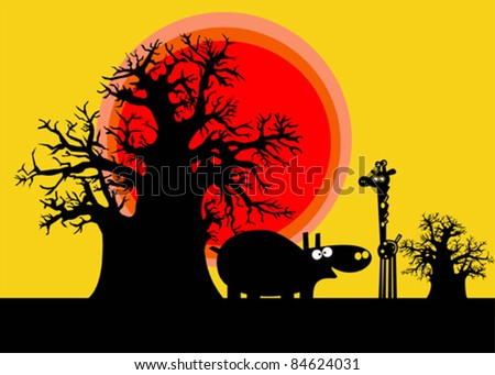 Funny silhouettes of african hippopotamus and giraffe over yellow sky - stock vector