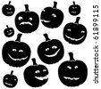 funny silhouettes of halloween pumpkins - stock vector