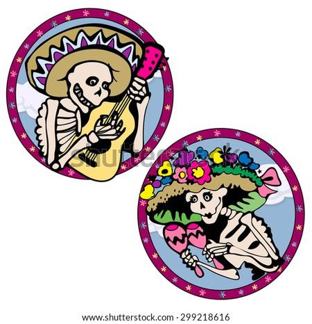 Funny skeletons. Vector illustration - stock vector