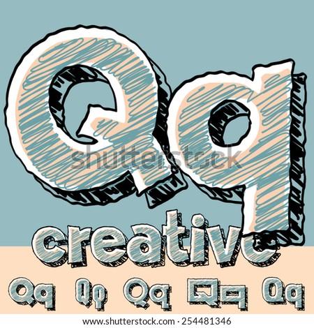 Funny sketch alphabet. Vector illustration of hand drawing font. Letter Q - stock vector