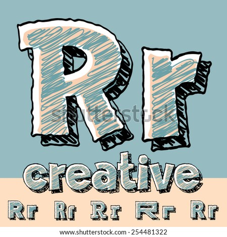 Funny sketch alphabet. Vector illustration of hand drawing font. Letter R - stock vector