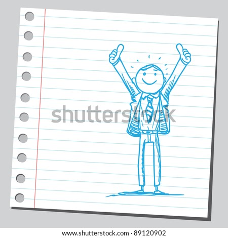 Funny sketch of a businessman rising his thumbs up - stock vector