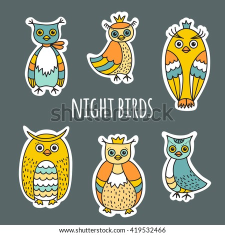 Funny sketches of the night birds. Owls and owlets hand-drawn. A set of colored images in Doodle style. The white contour for the effect of cut paper. Can be used as stickers. - stock vector