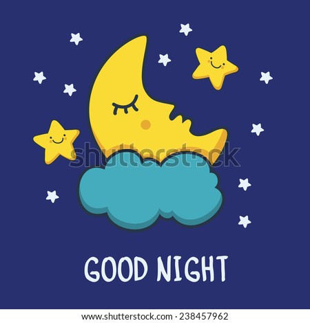 Funny sketching sleeping moon and smiling stars. Vector cartoon illustration background.  - stock vector