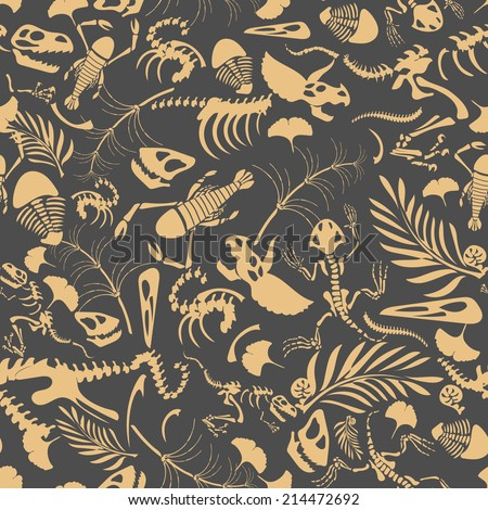 Funny sketchy fossil animals and plants. Seamless Pattern in EPS8 format. - stock vector