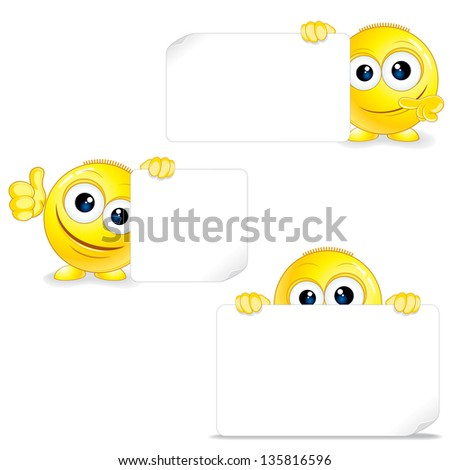 Funny Smiley with Sign and Thumb Up. Vector Clip Art. - stock vector