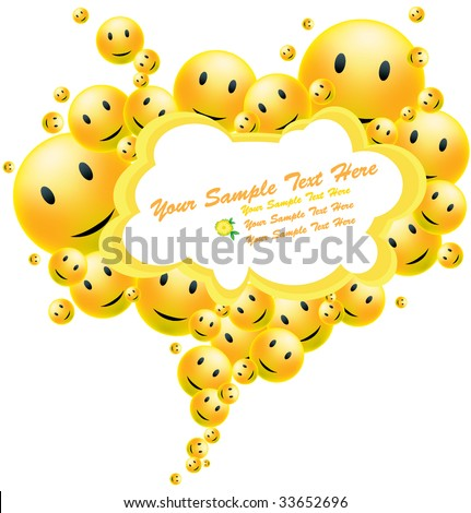 Funny smiling background frame for your text - stock vector