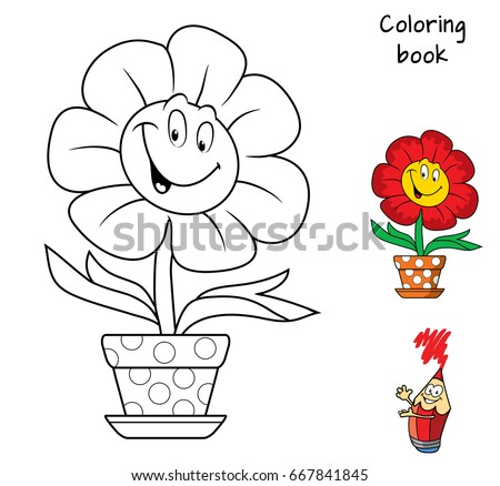 Funny Smiling Flower In A Flowerpot Coloring Book Cartoon Vector Illustration