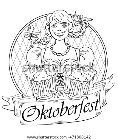 Funny Smiling Oktoberfest Girl With Glasses Of Beer Isolated On A White Background Creative