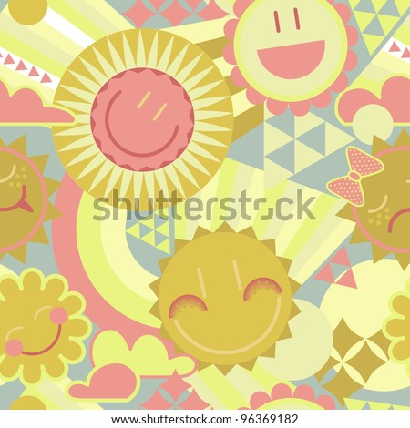 funny smiling sun in the sky seamless pattern