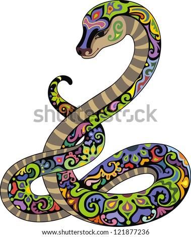 Funny snake - stock vector
