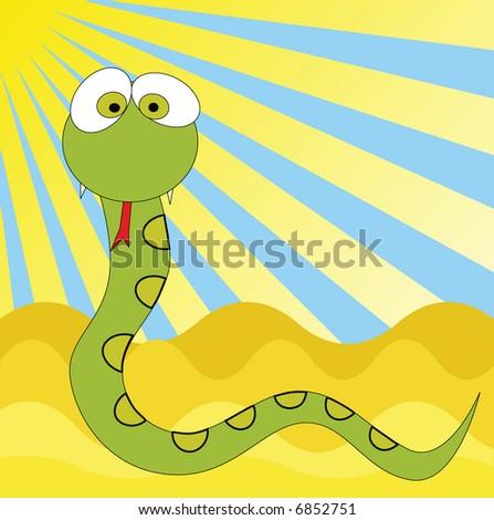 Funny snake cartoon,vector background - stock vector