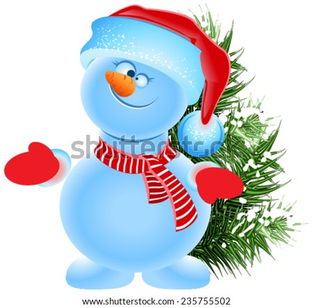 Funny snowman in the cap of Santa Claus and green Christmas tree. Illustration isolated in vector format - stock vector