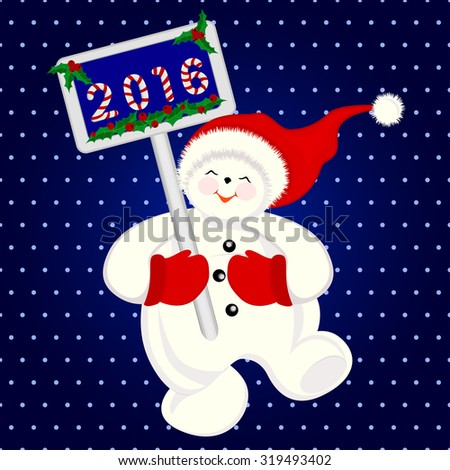 Funny snowman jumping for joy, christmas banner, vector illustration