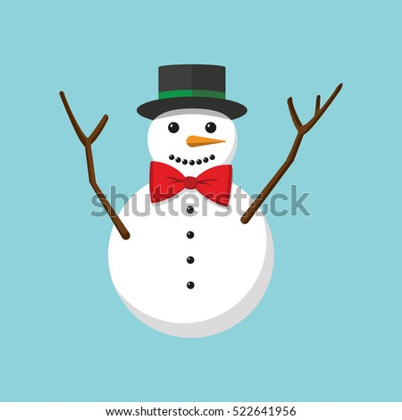 Funny snowman on blue background. Vector