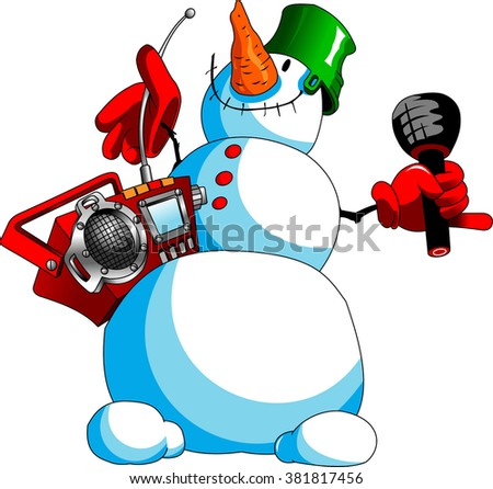 funny snowman with a tape recorder and a microphone, vector - stock vector