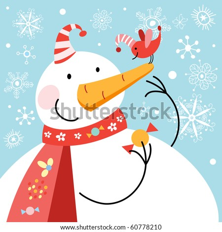 Funny snowman with bird - stock vector