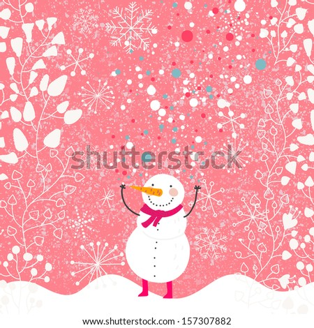 Funny Snowman with red scarf on floral background. Winter concept card in cartoon style in pink colors - stock vector
