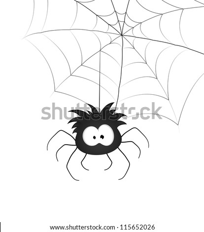 Funny Spider and Web - stock vector