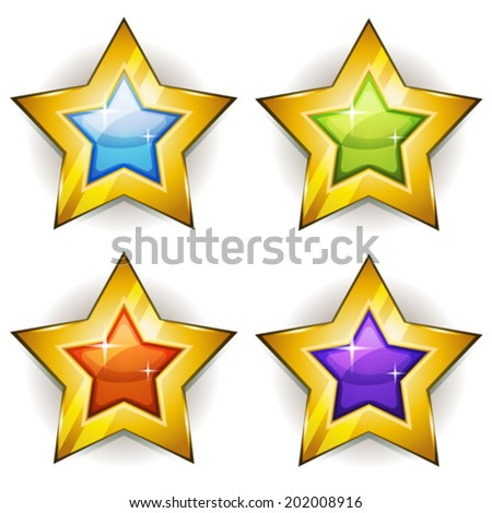 Funny Stars Icons For Ui Game/ Illustration of a set of funny cartoon shiny and bright golden stars icons for game ui - stock vector