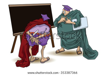 Funny stock illustration. Wise men argue and discuss.