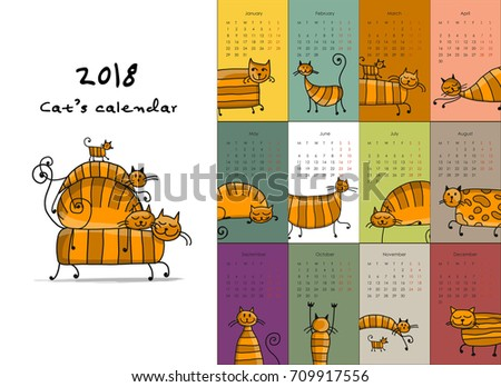 Funny striped cats. Design calendar 2018