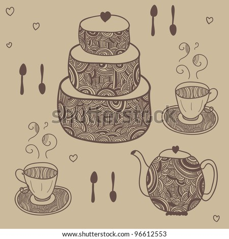 funny tea party with two cups and cake