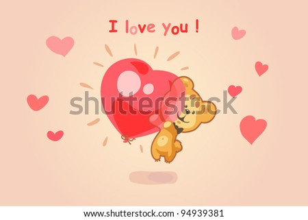 Funny teddy bear flying in a balloon in the shape of a heart - stock vector