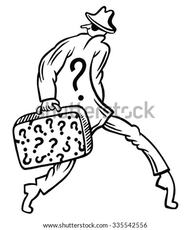 Funny thief character. Question mark - stock vector