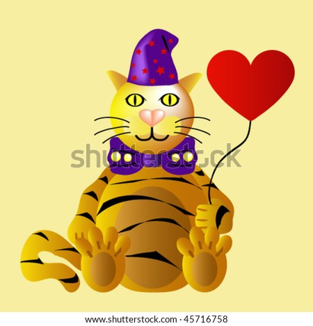 Funny Tiger at Valentine's Day with heart  balloon - stock vector