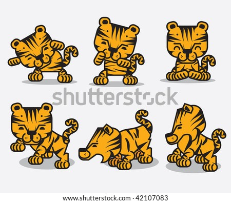 Funny tigers. Cartoon style design - stock vector