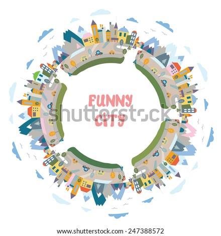Funny town round frame - design element with the houses - stock vector